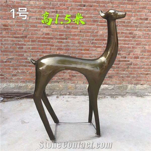 Abstract Sculptures Outdoor Decoration Black Deer Statues