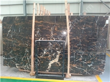 Gold Venied Royal Portoro Black Marble Slabs Tiles for Bathroom Vanities