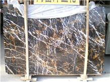 Royal Portoro Gold Black Marble Slab Tile Exterior Interior Decoration