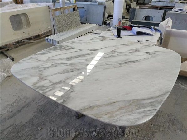 Calacatta Gold Natural White Marble Square Table Tops Coffee