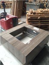 Grey Wood Grain Vein Marble Square Bathroom Countertops,Bath Tops