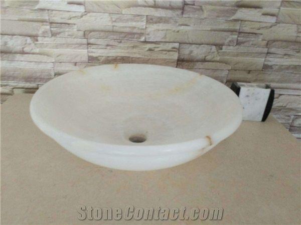 White Onyx Marble Round Bathroom Basins