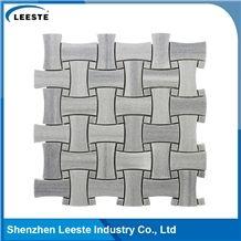 Honed Marmara Basketweave Grey Marble Mosaic Tiles