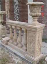 Beige Limestone Handcarved Baluster, Stair Handrails