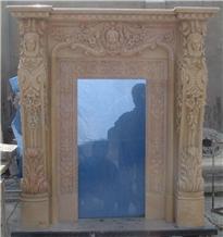Beige Marble Handcarved Door Surround, Western Style Sculptured Door