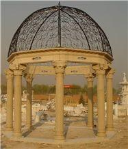 Beige Marble Handcarved Sculptured Stone Gazebos