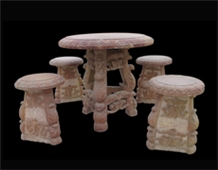 Beige Marble Handcarved Sculptured Table Sets, Western Style Tables