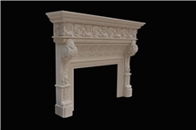 Egyptian Beige Fireplace,Western, Fireplace Mantel,Marble,Indoor