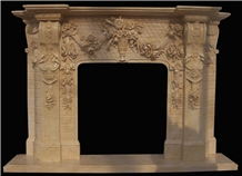 Egyptian Beige Marble Fireplace Mantel