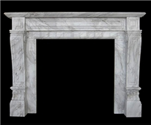Greek Volakas White Marble Fireplace Mantel