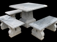 Marble Handcarved Bench and Table, Western Style