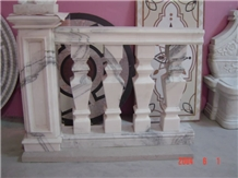 Natural Stone Hand Carved Balustrade, Western Style Sculptured Railing