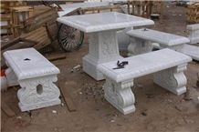 Outdoor Marble Carved Table Chair Stool