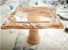 Red Marble Handcarved Stone Table Tops