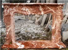 Red Rose Marble Fireplace Mantel Stone Fireplace