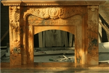 Sunset Red Marble Stone Fireplace Mantel