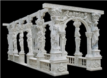 Western Style Sculpture Hand Carved Pergola Marble Column