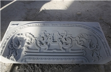 White Handcarved Marble Western Style Relief