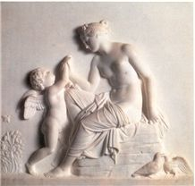 White Handcarved Marble Western Style Sculpture Relief