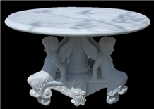 White Marble Garden Bench & Table Stone Bench