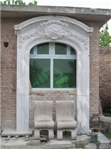 White Marble Handcarved Door Surrounds, Western Style Sculptured Door