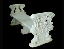 White Marble Handcarved Outdoor Bench, Western Style Bench