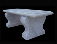 White Marble Handcarved Outdoor Bench, Western Style Garden Benchs
