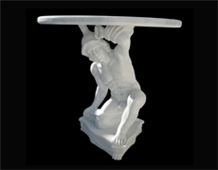 White Marble Handcarved Outdoor Table, Western Style Tables