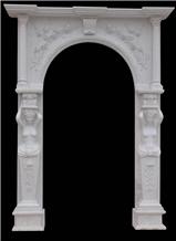 White Marble Sculptured Door Surround, Western Style Handcarved Door