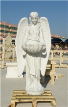 White Marble Sculptures Handcarved Angel Statues