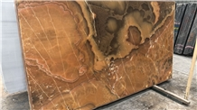 Terracotta Brown Onyx Polished Slabs, Terracotta Onyx