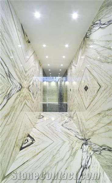 China Bamboo Landscaping White Marble Slabs on Sale,Machine Cut