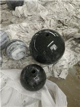 Polished Fountain Ball,Sphere in Black Granite with Hole,White Marble