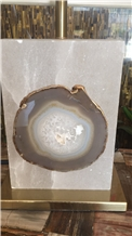 Inlayed Agate Gemstone Piece Grey Agate Slice