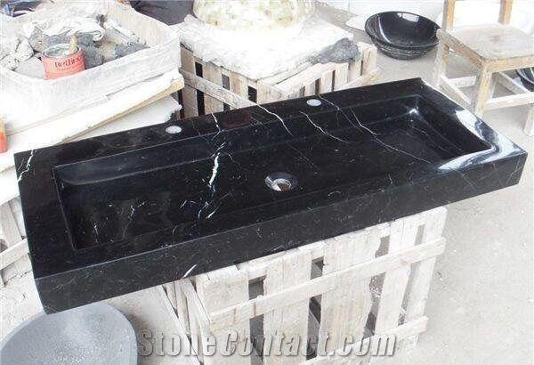 Nero Marquina Vessel SinkBlack Marble Rectangle Basin For Bathroom Best Black Marble Bathroom Model