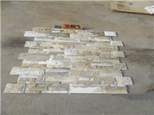Chinese Natural Split Wooden Yellow Slate Culture Stone Wall Cladding