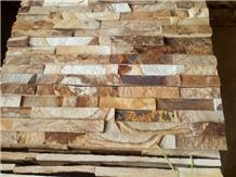 Golden Wooden Slate Split Cultured Stone Feature Wall Cladding Decor