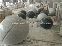 Light Grey/Dark Grey/Black Granite Parking Bollards,Solid Parking Ball