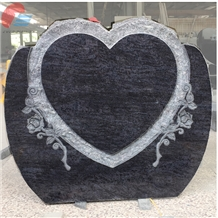 Bahama Blue Granite Heart Rock Pitched Monument with Rose Carved