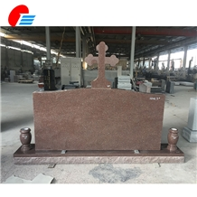 Imperial Carmine Pink Granite Top Cross Monument