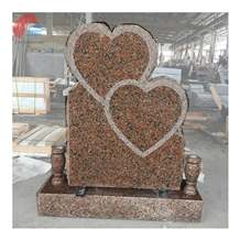 Maple Red Granite Double Stacked Heart Monument