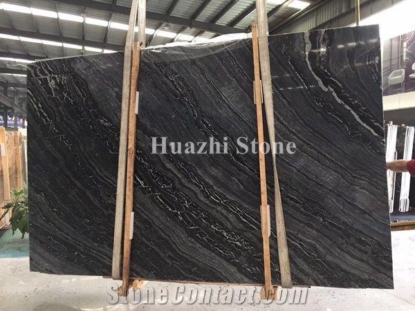 Ancient Wood Marble Kenya Black Marble Slabs Stone Tile For Home