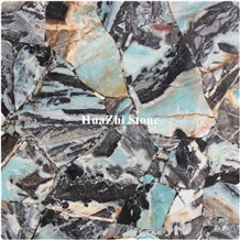 Luxury Glacier Jade Stone Beautiful Gemstone for Indoor Wall Cyan Color