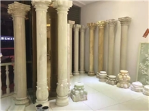 Handcarved Stone Column,Roman Style Columns, White Marble Roman Style