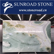 Tropical Blue Sky Marble, Blue Sky Onyx, Bookmatched Blue Sky Marble