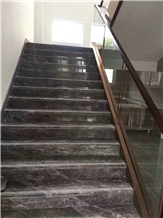 China Dark Silver Grey Marble Staircase