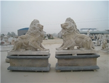 Antique Finish Stone Lions Cream Hand Carved