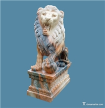 Sitting Lion Pink Marble Hand Carved Sculptures