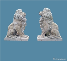 Travertine Lions Cream Outdoor Garden Sculptures