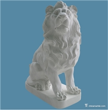 White Marble Lion Garden Sculpture Hand Carved